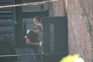 Brian Johnson and Phil Rudd at Warehouse Studios Vancouver